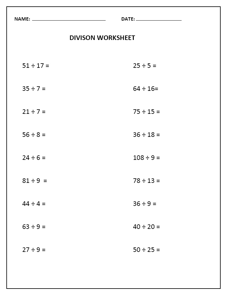 Division Table Worksheet Free